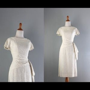 b1f85a800d1 Vintage Dresses - Beautiful Vintage 1950s White Linen Wedding Dress